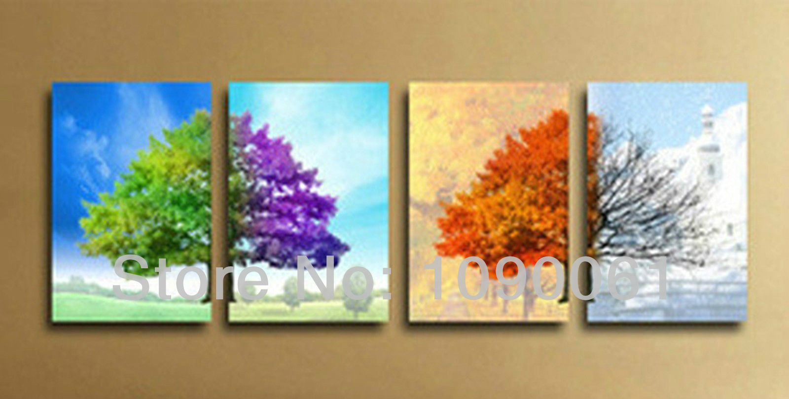 Hand Painted Modern Abstract Tree Paintings Four Seasons