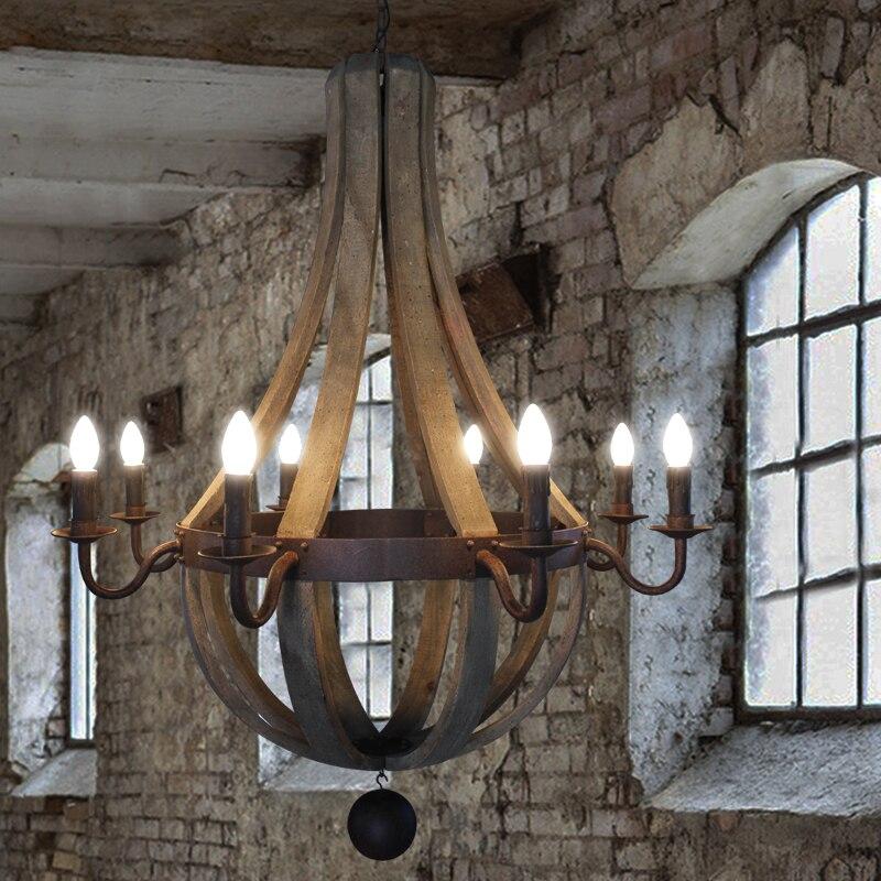 Pays américain en bois Rural E14 ampoule Dia 40 CM/50 CM/80 CM bois lustre suspension lampes pour chambre, salon