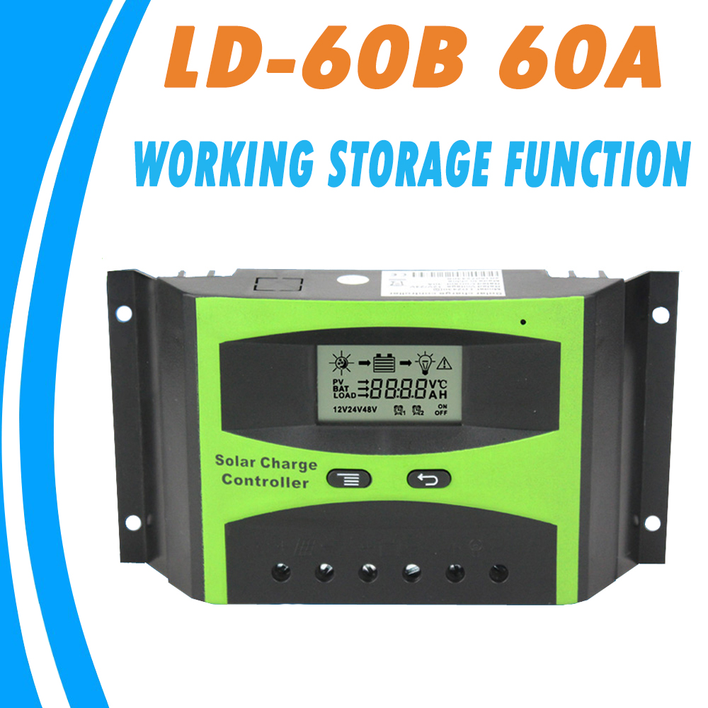 Solar Controller 60A 12V 24V LCD Solar Charge and Discharge Regulator for Battery Protection with Light and Timer Control 2016 special offer solar charge controller 20a 12v24v lightning protection and anti charge over discharge