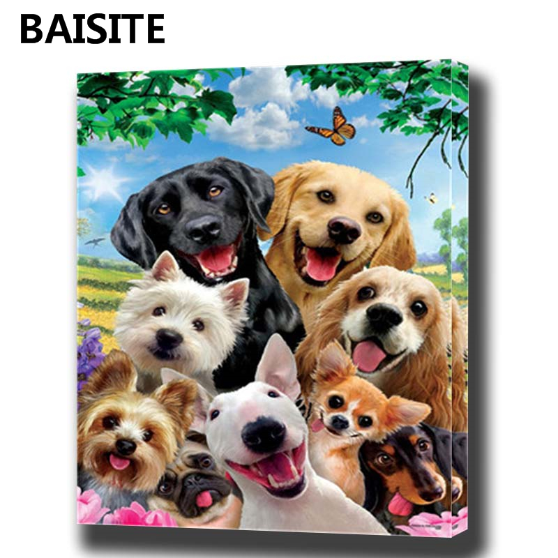 BAISITE DIY Framed Oil Painting By Numbers Animal Pictures ...