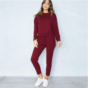 Casual Costumes For Women Spring Female Sporting Suits Sweatshirt Pant Suit Two Piece Set Sportswear
