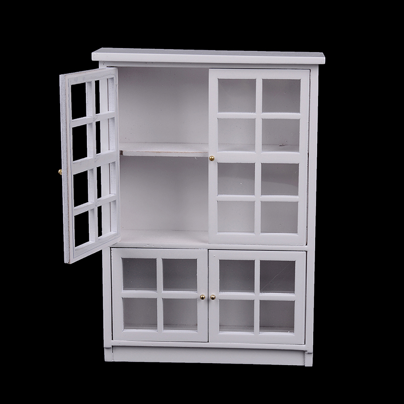 2019 DIY Cabin Room Furniture Kit Model White Gate Door Cabinet Doll House Kitchen 1:12 Dollhouse Miniatures Accessories