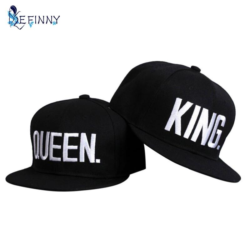Пара Лето Бейсбол Кепки king queen буквы Вышивка Snapback Hat акриловых Для  мужчин Для женщин подарки хип-хоп Кепки S хип-хоп Mujer  b40fdeb10d62f