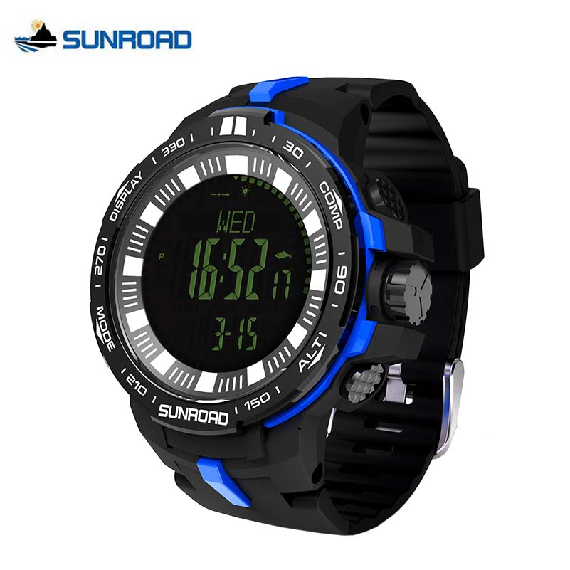 SUNROAD Weather Forecast Altimeter Barometer Thermometer Outdoor Climbing Watches Compass Waterproof Fishing Watch Men FR861