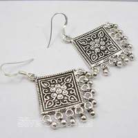 Chanti International PURE Silver UNUSUAL TRIBAL INDIA Earrings 5.2 CM 13.6 Grams OXIDIZED JEWELRY