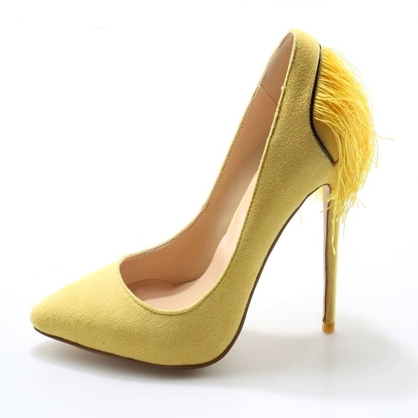 Women Purple Yellow Suede Fringe Pumps Thin High Heel Pointed Toe Tassel Shoes Slip-on Shallow Spring Autumn High Heeled Pumps fringe slip on slides yellow