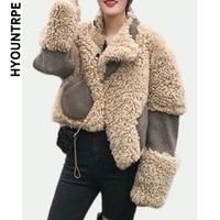 Patchwork Short Jacket Coat For Women Winter Warm Woolen Long Sleeve Outerwear Female Fashion Faux Fur Streetwear Jackets