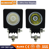 10w Mini Led Work Lights Square 12V Auto Offroad Flood Light For Bicycle Motorcycle Cars Wrangler
