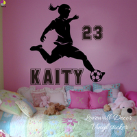 Personalized Soccer Girl Name Wall Sticker Baby Nursery Girl Room Custom Name Football Player Wall Decal