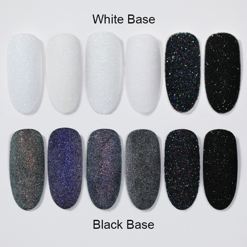2g Shining Sugar Nail Powder White Black Nail Glitter Pigment Dust Holographic Laser for Gel Polish
