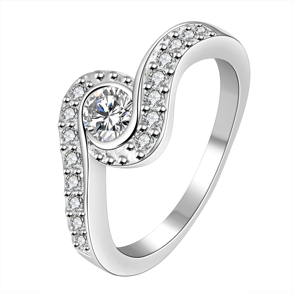 Elegant Ring Engagement Wedding Ring for Women Silver Pated Jewelry New Design Finger Ring For Lady Women Ring Top Quality