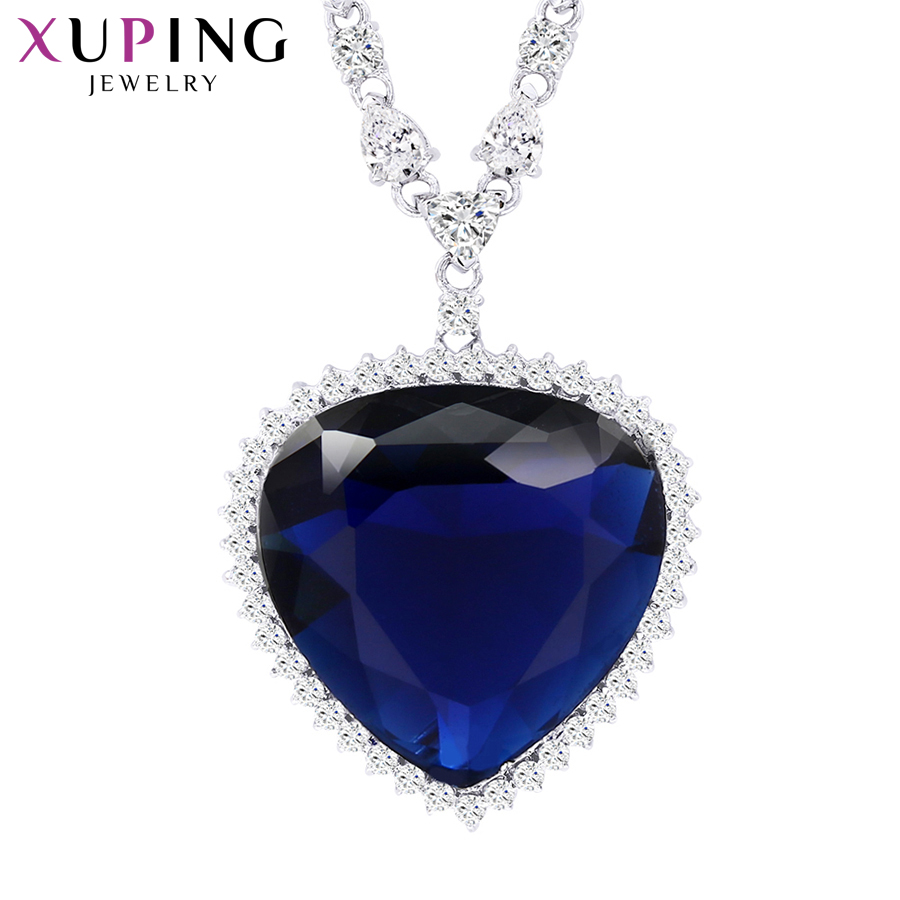 11.11 Deals Xuping Heart Shape Pendant Necklace With Synthetic Cubic Zirconia Jewelry for Women Christmas Day Gifts M11-43164 stylish hollow out heart shape pendant necklace with owl for women