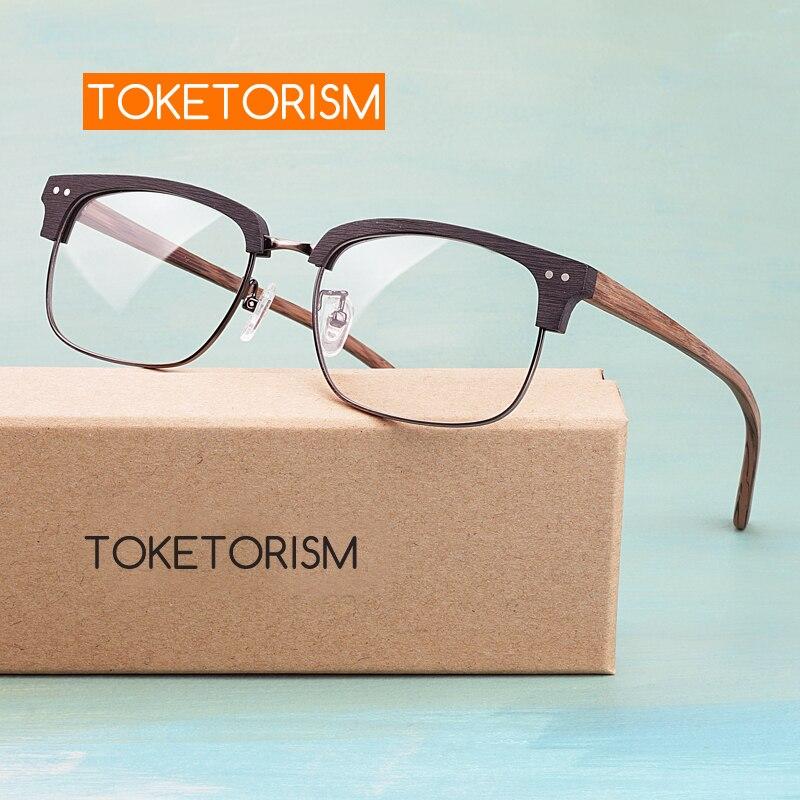 Toketorism high quality Acetate glasses stylish rectangle semi half frame wood grain optical eyeglasses frame for women men