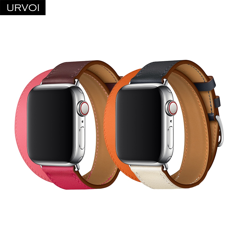 URVOI Extra-long Double Tour band for Apple Watch series 4 3 2 1 2018 strap for iwatch swift leather loop high quality belt urvoi deployment buckle band for apple watch series 3 2 1 strap for iwatch belt single tour for hermes watch band swift leather