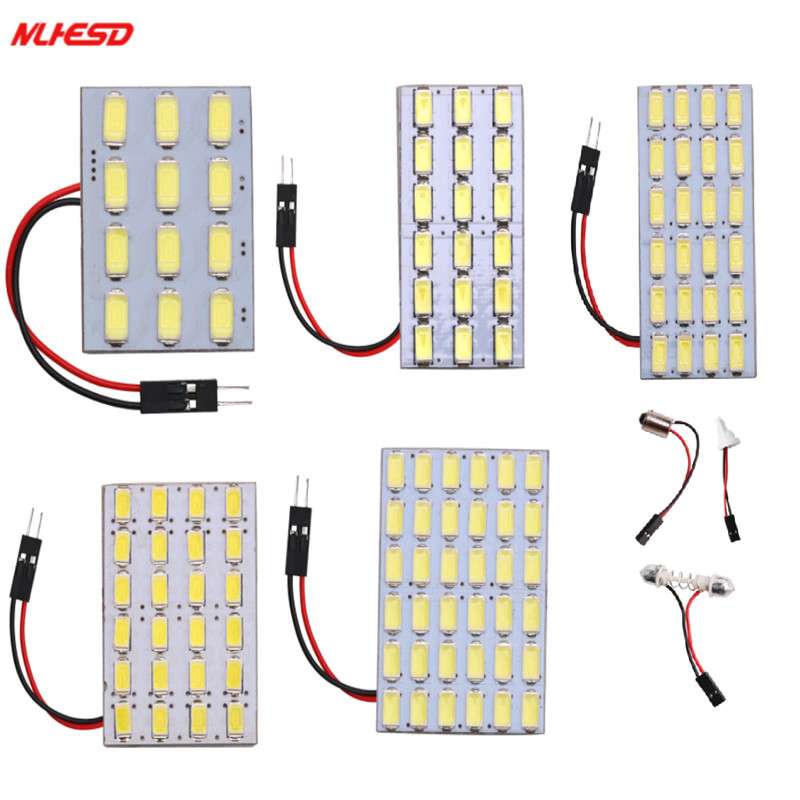1Set Car Panel Reading Map Lamp 5630 12 18 24 36 LED SMD 5730 Dome Interior Bulb Roof Lights BA9S T10 C5W Adapter Festoon Base