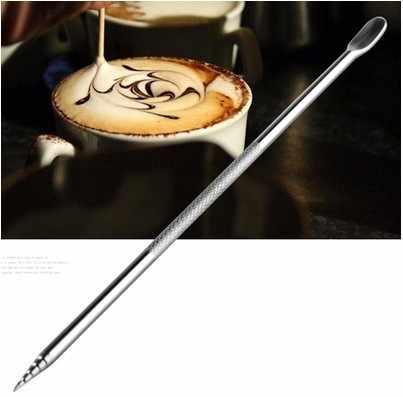 Freeshipping Kopi Latte Cappuccino Bunga Pin Stipa Jarum Stainless Steel Diukir DIY alat Kopi Mewah Garland Tongkat Art Pena