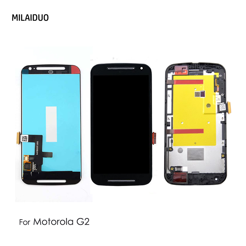 LCD <font><b>Display</b></font> For <font><b>Motorola</b></font> MOTO G2 G+1 XT1063 <font><b>XT1068</b></font> XT1069 Touch Screen Digitizer Assembly Black White No Frame High Quality image