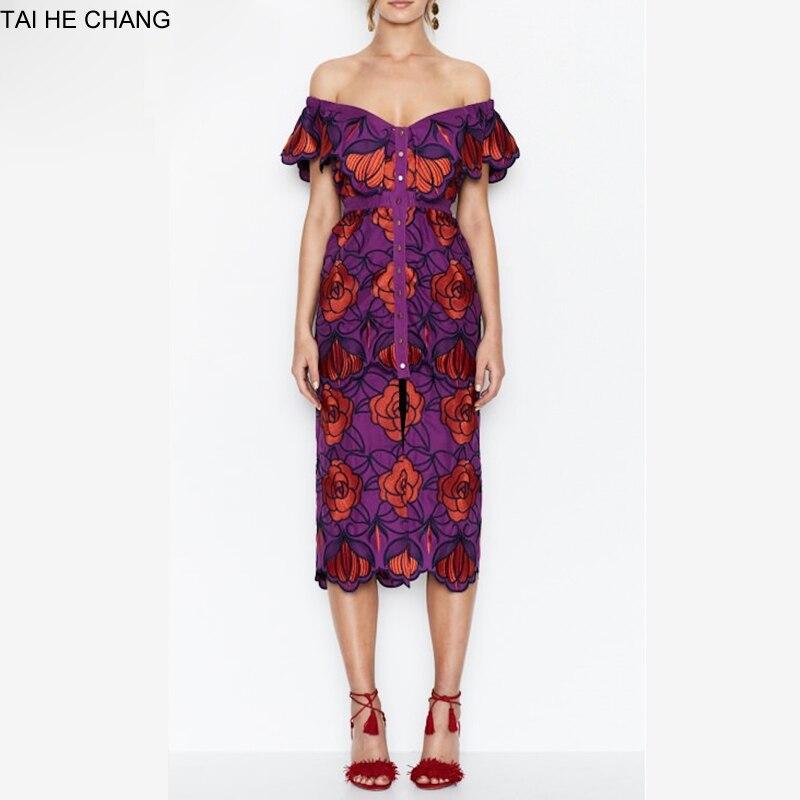 Femmes haut de gamme nouvelle mode élégante robes moulante mince d'été automne vintage formelle partie sexy de l'épaule robe 2895