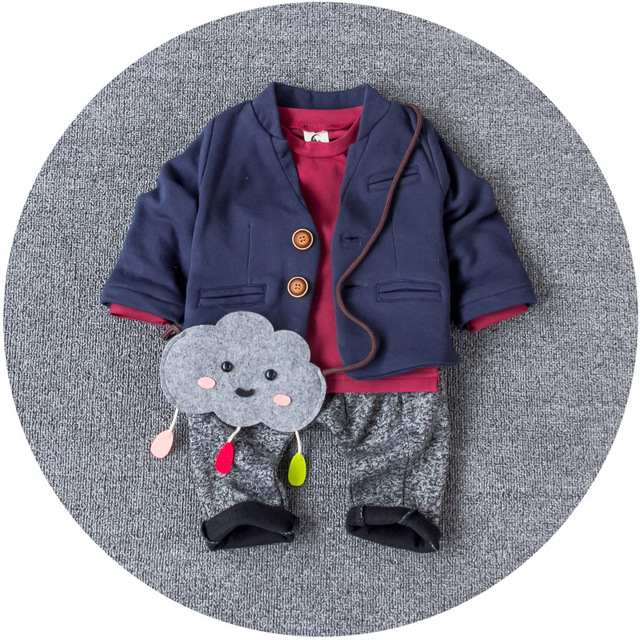 Three Piece Baby Boys Spring Autumn Full Suits Thickening Winter Koreans Style Infant Clothes Set