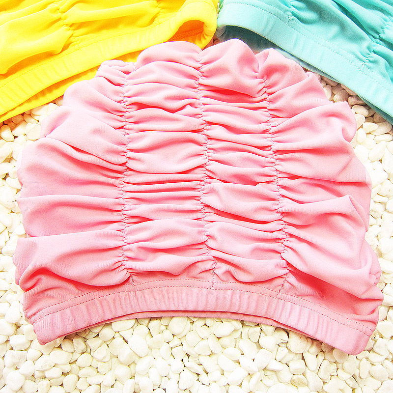 Swimming Caps children long hair Ear Protection Beach pool Caps Kids ruffled Swimming Hats yellow pink Girls bathing caps 2-12Y