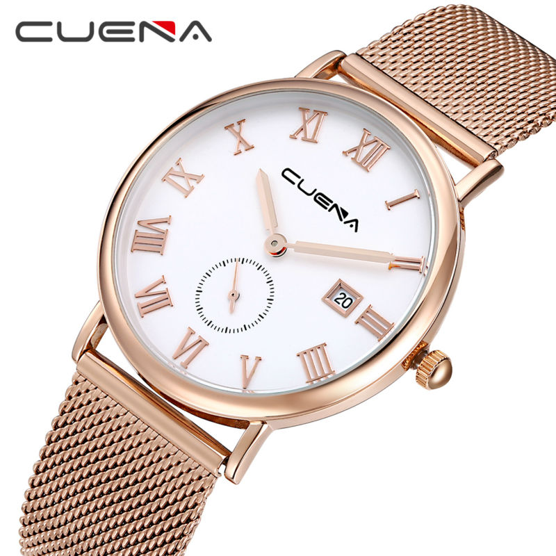 CUENA Brand Män Kvarts Watch Reloj Stainless Steel Klockor Mode - Herrklockor