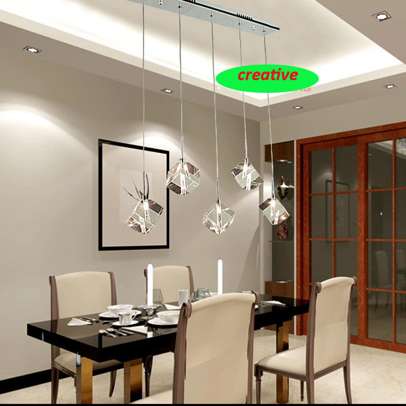 ZYY Modern Concise Transparent Crystal Pendant Light Creative 3/5/7 Head Round Rectangular Stainless Steel Lamp Base Dining Lamp