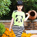 Girl Summer Clothing Sets Fashion Cute Cartoon Panda Short Cotton T-Shirt & Harem Pants 2 Pcs Tracksuit Teens Children Clothing