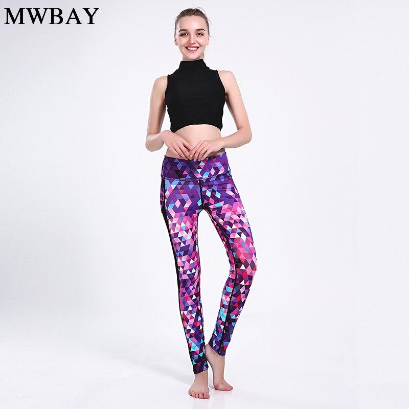 Mwbay сетки топы жилет бюстгальтер Плюс мраморным принтом брюки из двух частей женские фитнес-наборы Activewear одежда Pjyoga-66069