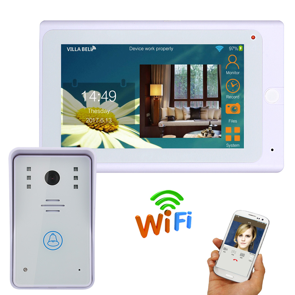 7 inch 720P Video Door Phone Doorbell Kit Video Intercom System with APP Remote control Wired /Wireless Wifi IP Connect ip video door phone intercom system wireless control ip camera video intercom remote control smart doorbell via smartphones