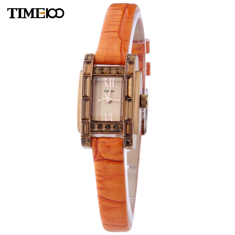 TIME100 femmes élégantes montre Quartz bijoux fermoir Orange bracelet en cuir dames robe décontracté montres relojes relogio feminino