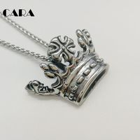 CARA Silver Color 316L Stainless Steel Crown Pendant Necklace 3D Cross Crown Punk Rock Necklace Men