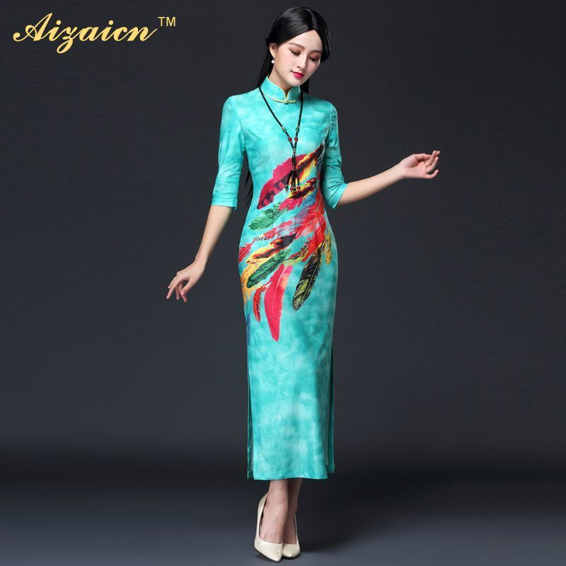 Elastic Long Sleeve Cheongsam Korea Traditional Evening Gown Cotton ...