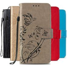 Case For LG Stylo 4 Q Stylus 3 G7 ThinQ K10 K8 2018 G3 G5 Aristo2 Plain Business Card Slot Phone Cover Flower Butterfly P03E