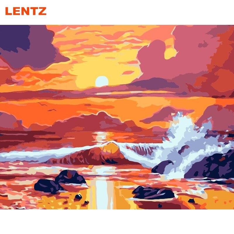 seascape alba mar pittura di diy dai numeri paesaggio marino pittura a olio dipinta a