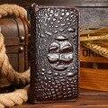 Hombres del cuero genuino del cocodrilo 3D forme la carpeta de tarjeta de crédito monedero mano Cluth Zipper Money Clip