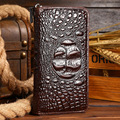 Men Genuine Leather Crocodile 3D Wallet Fashion Credit Card Purse Hand Cluth Zipper Money Clip