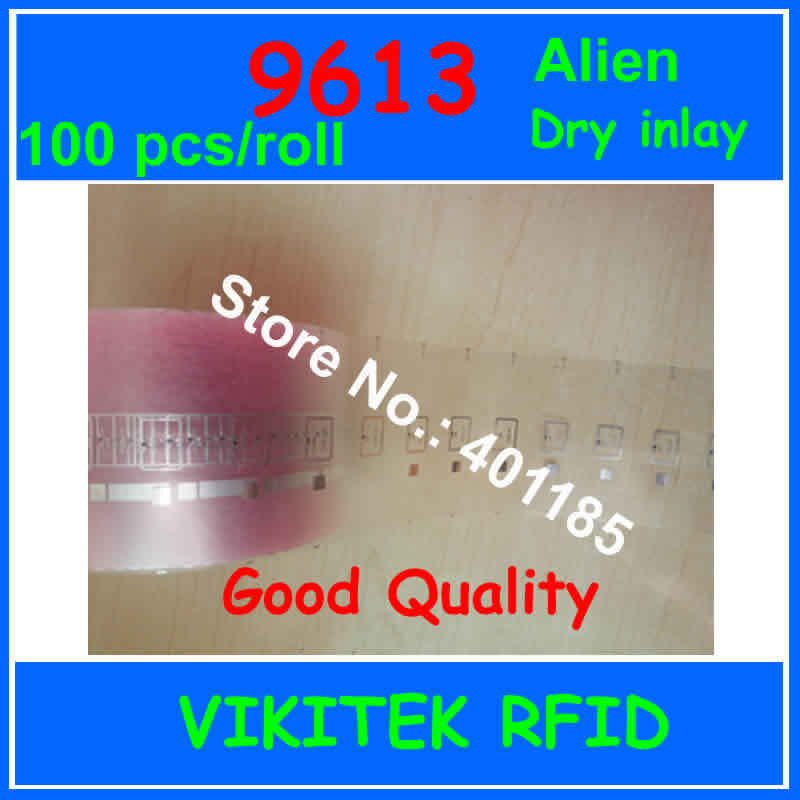 Alien authoried 9613 100pcs per roll UHF RFID dry inlay 860-960MHZ Higgs3 915M EPC C1G2 ISO18000-6C can used to RFID tag label
