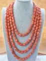 "charming Fashion Jewelry natural 100"" 13x15mm massive pink coral NECKLACE  AAA shipping free"