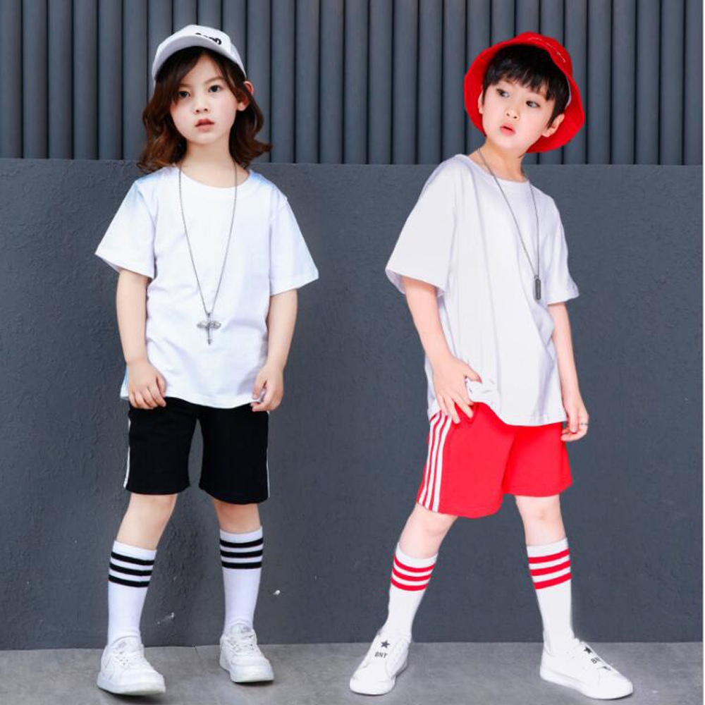 Ballroom 100% True Ktlpart Cotton Red Black Children Adult Girl Boy Drum Kit Hiphop Hip Hop Jazz Modern Dance Suit Costume Hooded Clothes Pants Kid