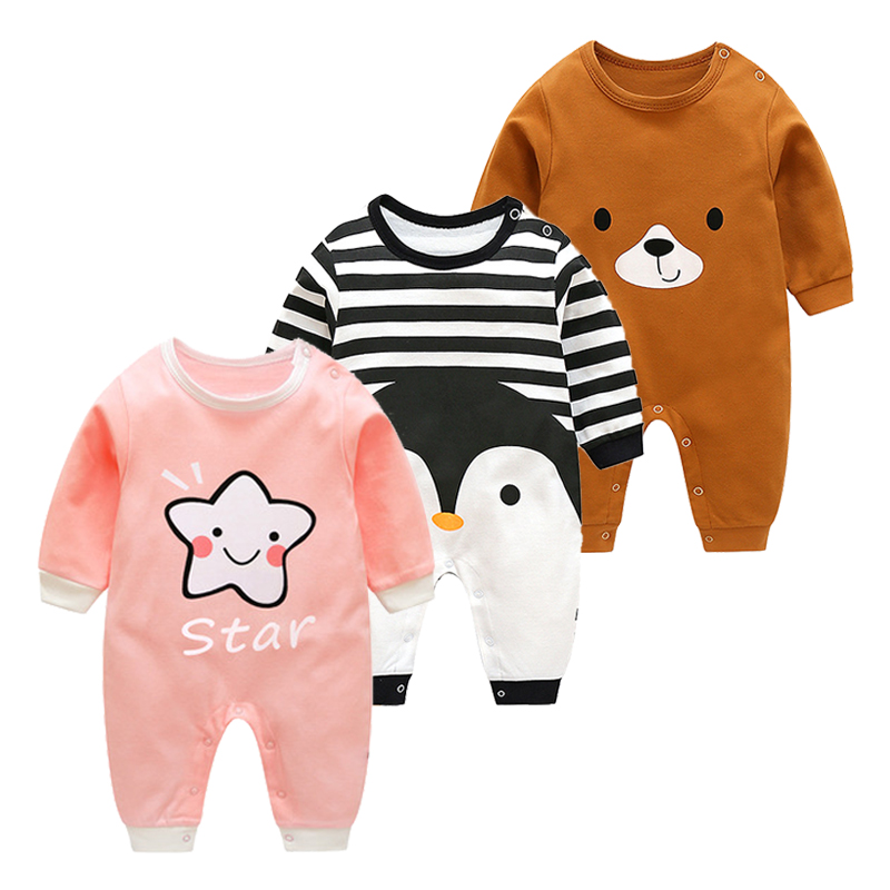 Newborn Baby Cotton Clothing 2019 New Summer Thin Cartoon Jumpsuit Infant Baby Spring Long Sleeve Climbing   Rompers   Cute Jumpsuit