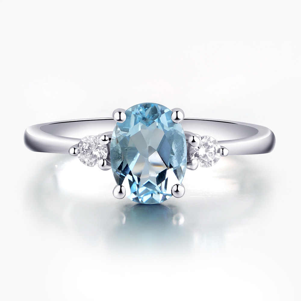 March Birthstone Fine Ring 5x7 MM Aquamarine Engagement Solitaire Ring Natural Aquamarine Oval Shape Gemstone 925 Sterling Silver Ring
