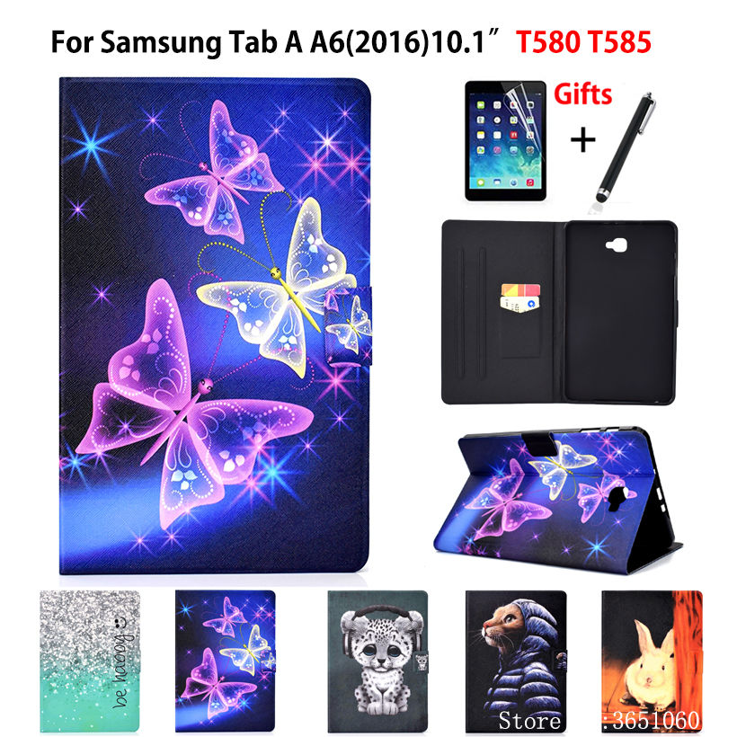 """SM T580 Funda Tablet Case For Samsung Galaxy Tab A A6 10.1"""" 2016 SM T585 T585 T587 Fashion Butterfly PU Leather Skin +Film+Pen