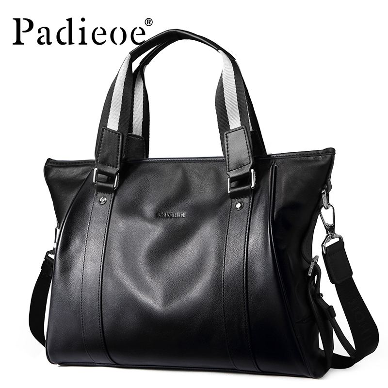 Padieoe Business Briefcase Genuine Leather Handbag Men Casual Briefcase Men Business Black Laptop Briefcase Bag