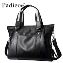 Padieoe business briefcase genuine leather handbag men casual briefcase men business black laptop briefcase bag