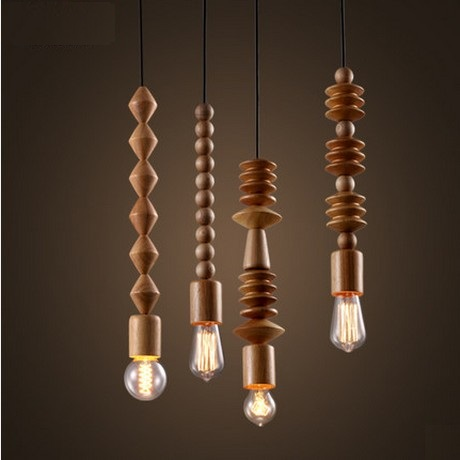 Edison Loft Style Wood Art Droplight Vintage Pendant Light Fixtures For Dining Room Hanging Lamp Indoor Lighting Lamparas american loft style hemp rope droplight edison vintage pendant light fixtures for dining room hanging lamp indoor lighting