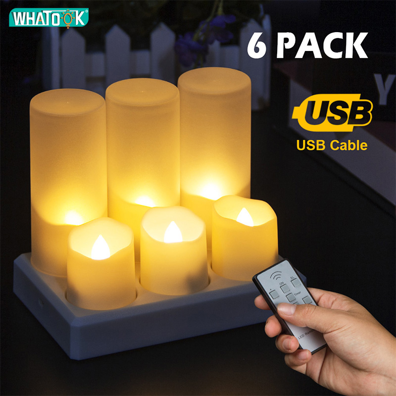 6 Pack Charging LED Flameless Candles Cup Remote Electric Tea Light Fake Velas Warm White Flame Votive Timer Tealight Home Decor