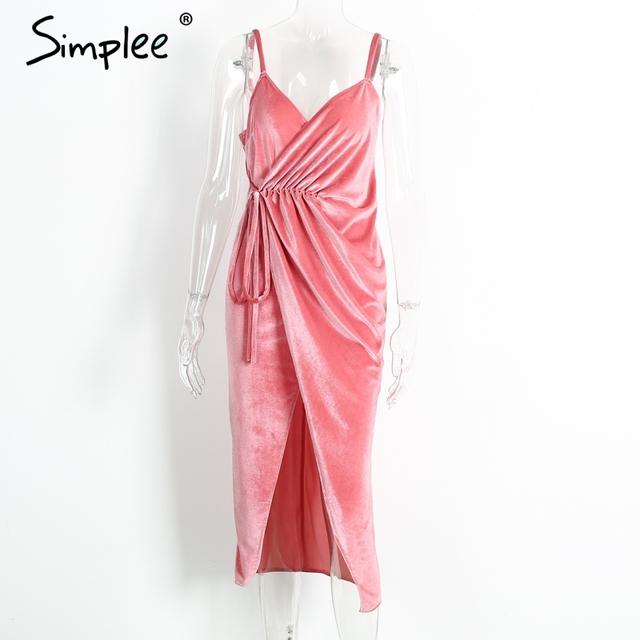 Simplee V neck pink velvet sexy dress women Evening party high split backless long dress Sundress with belt vestidos de festa