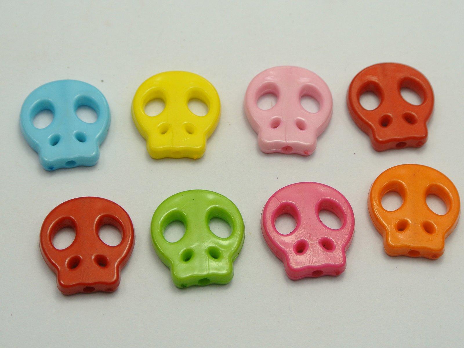 200 mixed Bubblegum color acrílico Halloween gótico cráneo plano Cuentas  16x15mm 5a45f648c5c