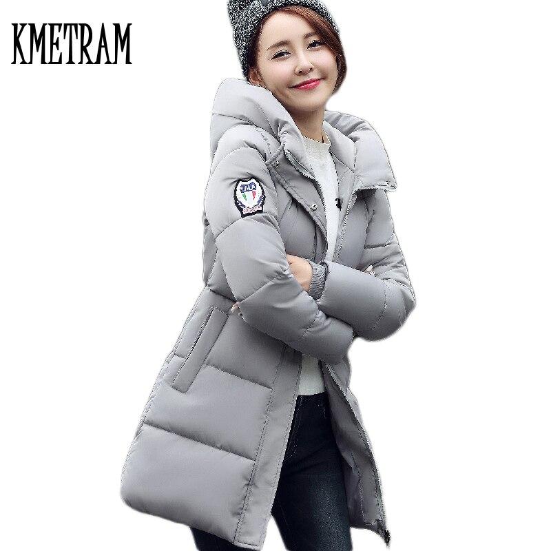 2019 mode Style européen moyen Long Slim femmes vestes d'hiver et manteaux chaud à capuche en coton Parkas veste manteau WUJ0620