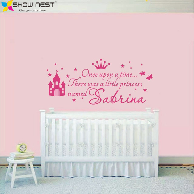 Custom princess girl name decals wall sticker for kids rooms baby girl nursery wall decals girls